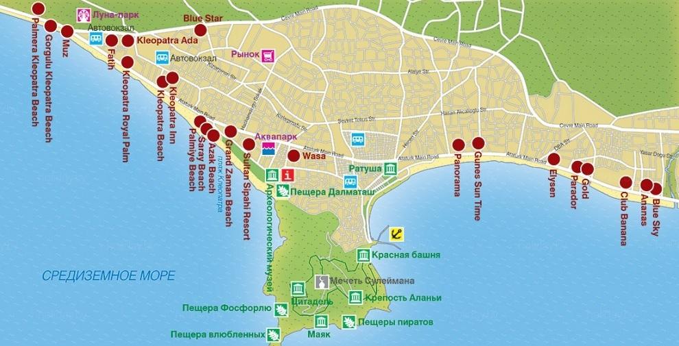 Карта Алании. Карта Кемера